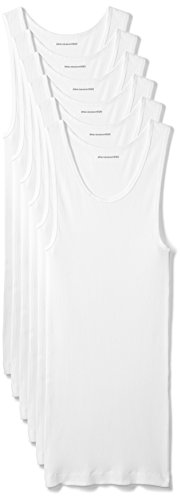 Amazon Essentials 6-Pack Tank Undershirts Camisa, Blanco (White), Small