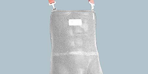 Edelstahl-Stechschutzschürze STAHLNETZ, Stechschutz-Kettenschürze, Edelstahl Hemdschürze, Arbeitsschürze für Metzger & Werkarbeiten, (Ringdurchmesser: Ø 7 mm), EN 13998, Größe:85 x 55 cm