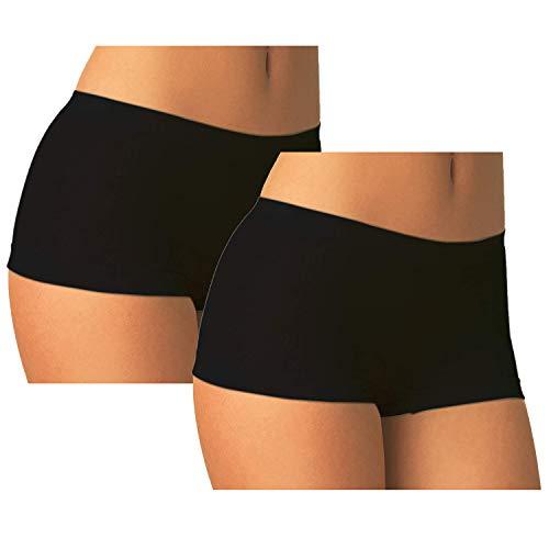 Carin Culotte Microfibra, Boxerino Shorts Danza Donna Pantaloncino Elasticizzato Traspirante Set 2 Pezzi (Nero Small/Media (40-44))