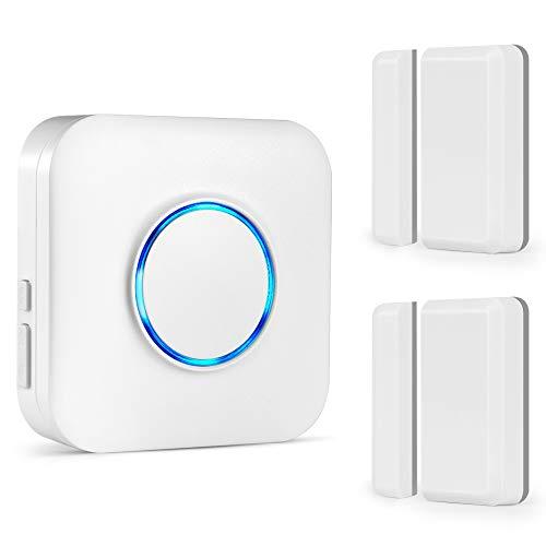 Tür Fenster Sensor Klingel, BITIWEND Kabellose Magnetische Melder, Fenster Türsensor mit Magnetsensor, Funk Tür Fenster Detektor mit 1 Empfänger und 2 Sender, Eingebaute LED Anzeige für Hörgeschädigte