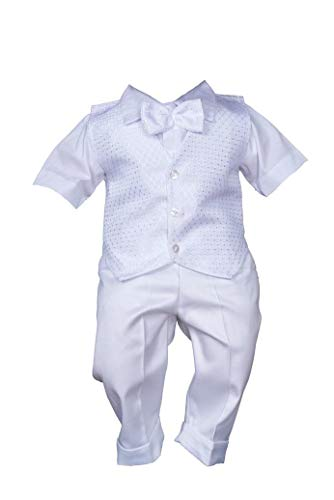 Sommer Taufanzug Weiß Festanzug Hochzeitsanzug 3Tlg Set (74/80)