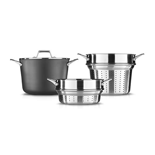 Calphalon Permier 8-Quart Multi-Pot with Pasta and Steamer Inserts and Cover, 8 QT, Black