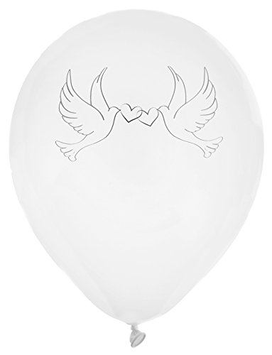 Luftballons / Hochzeitsballons in weiss mit silbernen Tauben & Herzen - Inhalt 8 Ballons pro Packung - originelle Deko für Ihre Hochzeit
