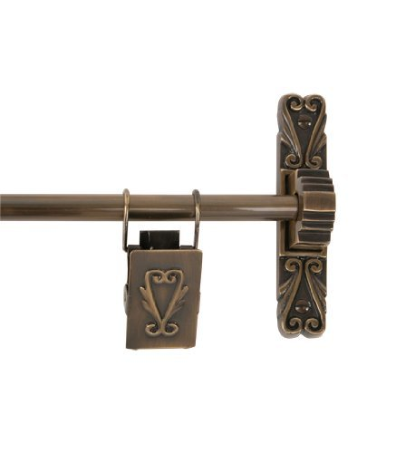 Brass Elegans 36TH 2-AB 48-Inch Antique Brass Victorian Collection Solid Brass Tapestry Hanger with Three Victorian Clips by Brass Elegans