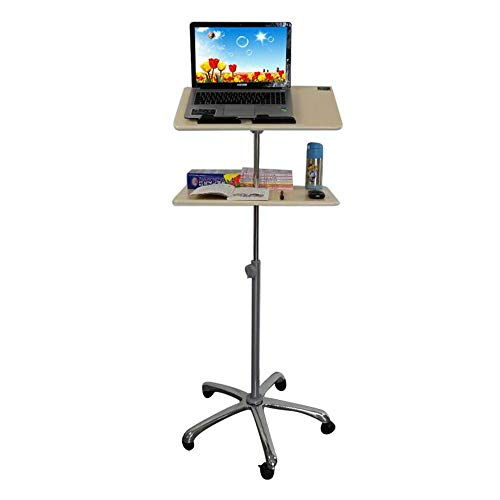 Tables Jcnfa Height Adjustable Mobile Laptop Mobile Trolley with Mouse Pad, Five-Star Universal Wheel Double-Layer Board (Color : Wheel 2-Layer Board, Size : 79-124cm)