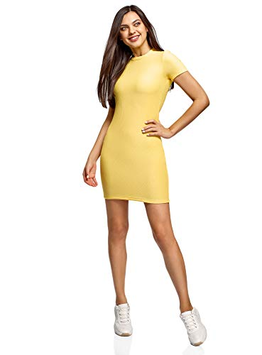oodji Ultra Mujer Vestido de Punto de Manga Corta, Amarillo, ES 36 / XS