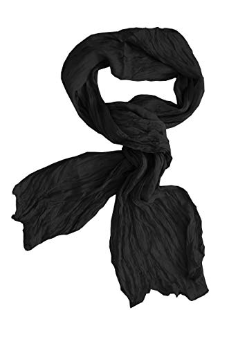 Posh Gear Donna Uomo sciarpa di seta wrinkle scarf, nero 100% Seta