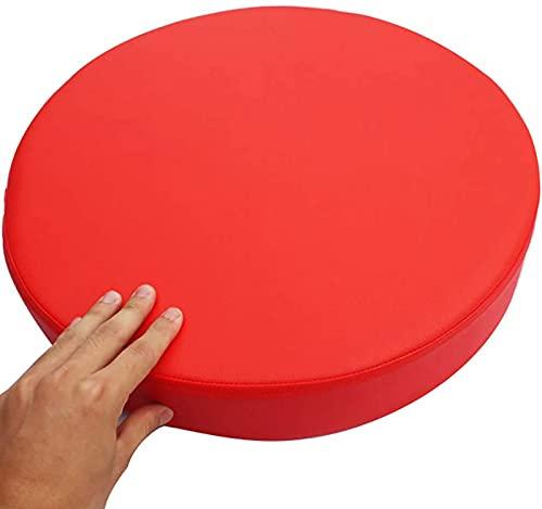 Cojín del asiento Cojín De Asiento Redondo Cojín De Silla De Cuero Sintética, Grueso Removible Suave Para Carro De Oficina, Barra De Bar, Cojín, Rojo 50x50x8cm (Size:50x50x8cm(20x20x3inch),Color:rojo)
