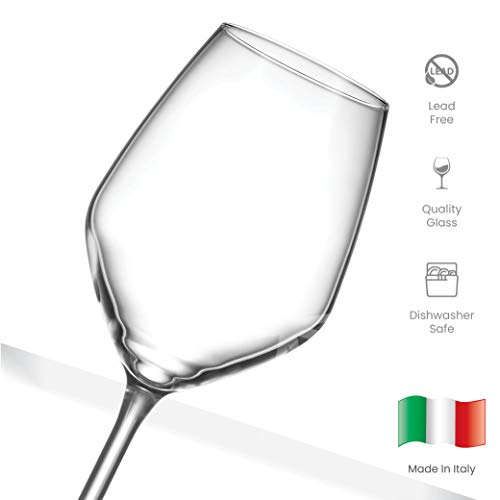 Paksh Novelty Italian White Wine Glasses - 15 Ounce - Lead Free - Shatter Resistant - Wine Glass Set of 4, Clear