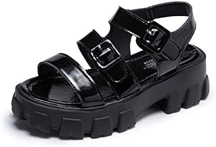 ZAIXO Non-Slip Basic Casual Sandals Women Shoe Fashion 5.5cm Heel Summer Women Sandals Fashion Sandals Buckle Women Sandals (Color : Black, Shoe Size : 40)
