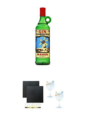 Gin Xoriguer Mahon Gin 0,7 Liter + Schiefer Glasuntersetzer eckig ca. 9,5 cm Ø 2 Stück + Gin Sul Copo Ballon Glas 2 Stück