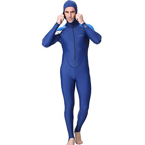 QinMM - Traje de Neopreno para Hombre, 3 mm, con Capucha y Traje de protección UV Completo Azul XL
