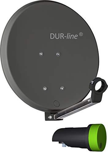 DUR-line DSA 40cm Anthrazit + Single LNB - 1 Teilnehmer Set, Hochleistungs Hart-Aluminium Spiegel - [Sat-Antenne, Satellitenschüssel, Camping, Balkon, Mini, Boot]