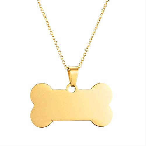 Minekkyes Mascota Perro Etiqueta Hueso Forma Colgante Collares Oro Color Cadena Collares...