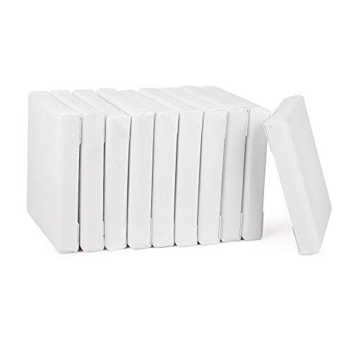 ewtshop® Mini Leinwände mit Keilrahmen, 100% Baumwolle, 10 Stück, 10x10 cm, Canvas, Kunstleinwand, Leinwand Tafel, weiß