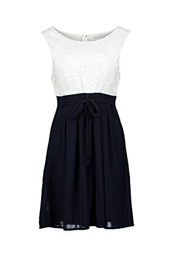 Apricot Damen Kleid mit Spitze und Color-Block,Cocktailkleid Sommerkleid Partykleid (L, Navy)
