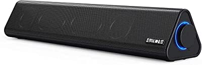 SAKOBS PC Soundbar, 12W Bluetooth 5.0 Computer Speakers for Desktop Laptop Portable USB Powered Wired/Wireless Mini TV Sound Bar,16H Playtime,Surround Sound,Pure Bass,Microphone,3.5mm Aux Input & TF. from Sakobs