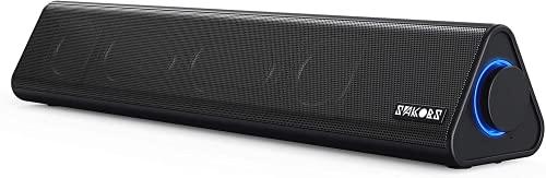 SAKOBS PC Soundbar, 12W Kabel Lautsprecher für PC Laptop TV Geräte,Computer Lautsprecher,Stereo Sound,Mikrofoneigang,USB Anschluß