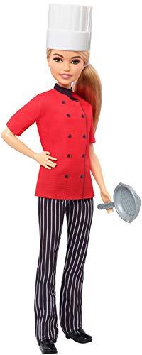 Barbie FXN99 - Berufe Köchin Puppe mit Pfanne, Kochmütze und blondem Haar, Puppen Spielzeug ab 3 Jahren