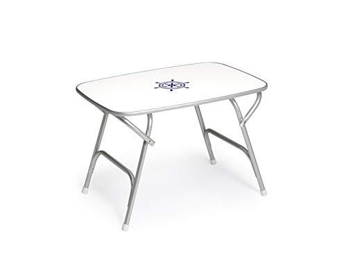 Mesa de cubierta 23'6 x 34'6 x 24', mesa de barco, plegable, rectangular, anodizada, aluminio, modelo M450