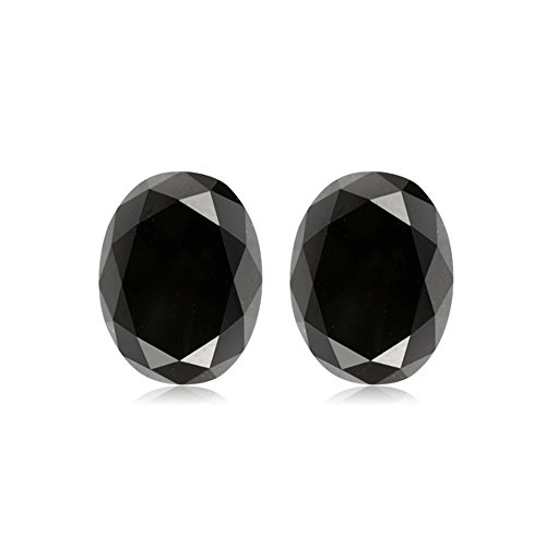 Mysticdrop 1.46-2.10 Cts of 7x5 mm AAA Oval Cut (2 pcs) Loose Treated Fancy Black Diamonds
