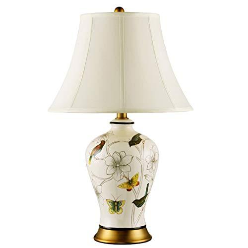 Lampe de bureau En Céramique Rétro Lampes De Table Salon Décor Rustique Creative Design Chambre Chevet Lumière Tissu Ombre Pastel Décoration