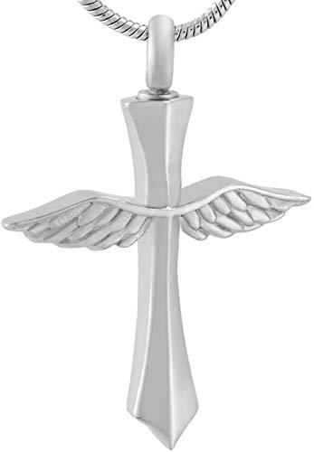 Cremación Colgante El Diseño De Ala Gris De Recuerdo Se Puede Colgar Con Un Colgante Cruzado, Utilizado Para Cenizas Para Hombres Y Mujeres, Collar De Cremación Para Mascotas/Bisutería