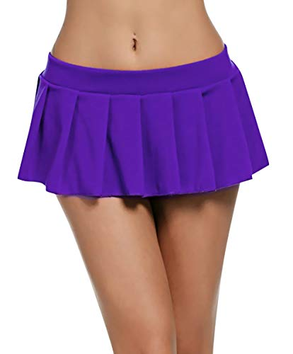Feoya Mini Rock Schulmädchen Skirt Damen Kurz Minirock Röcke Frauen Sexy Dessous Solid gefaltet Nachtwäsche Reizvolle Violett M