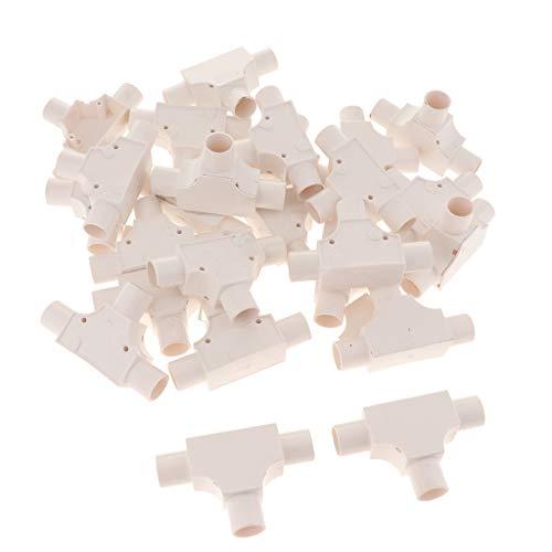 Milageto T Type PVC Conduit Électrique Tuyau Meilleure Vente Blanc/Rouge - E 10.9x6.8x3.0cm - B 10.9x6.8x3.0cm