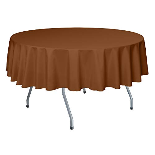 Ultimate Textile 60-Inch Round Polyester Linen Tablecloth Copper Brown