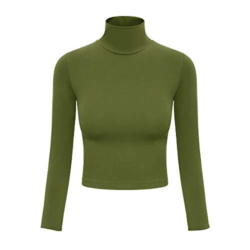 Crop Tops for Women Long Sleeve Turtleneck Soft Lightweight Basic Slim Fit Tops Green M