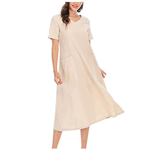 Algodón lino vestido de verano para mujer retro manga corta monocolor con bolsillo para el tiempo libre, cómodo y ligero y elegante vestido suelto suelto, beige, XL