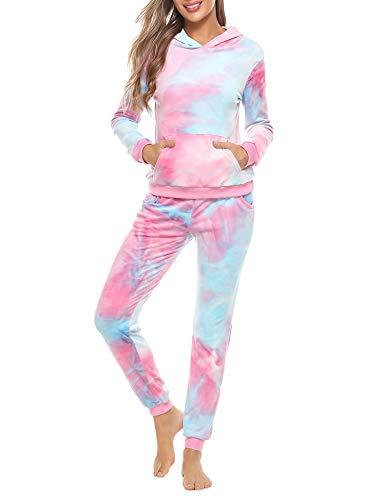 Abollria Damen Nicki Hausanzug Tie Dye 2 Teiler Velours Jogginganzug Kuschelig Kapuze Oberteil+Hose mit Taschen Tie Dye-1,M