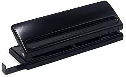 6穴パンチ ルーズリーフパンチ 手帳用 移動式 調整可能 穴あけパンチ 位置決めマーク付き 6穴 A5 文房具 事務器(黒)