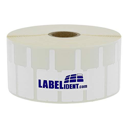 Labelident Kabelfahnen in weiß - 50 x 20 mm - 2500 Vinyl Etiketten auf 1 Zoll Rolle für Kabel-Ø 2,0 bis 5,0 mm, glänzend