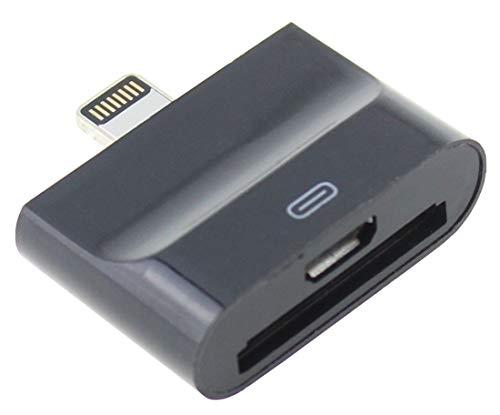 IPRIME 2in1 Adapter [30-polig/Micro USB] auf 8-Pin kompatibel mit iPhone und iPad - Schwarz