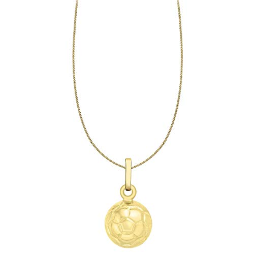 Carissima Gold Damen-Kette mit Anhänger 9ct Football Pendant on Curb Chain 375 Gelbgold 46 cm - 1.45.4824