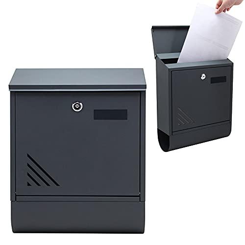 LZQ Estilo moderno Buzón de Acero Inoxidable Buzón de Exterior ara cartas y correo postal con el periódico rollo Bloqueable 2 Llaves,gris, 300 x 400 x 110 mm, D Tipo