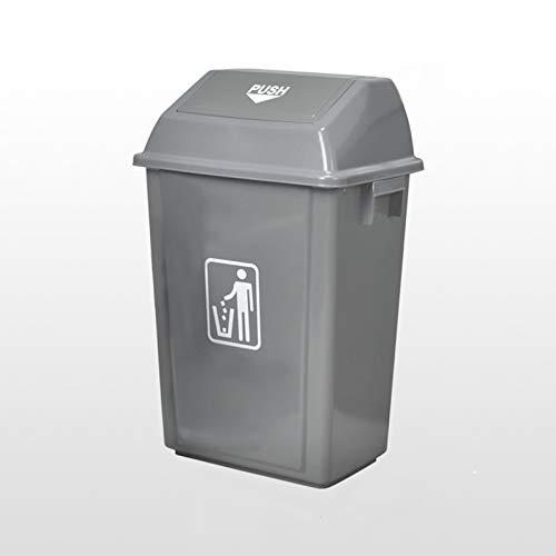 Cubos de basura para exterior La basura de la tapa del swing puede lata de basura de gran capacidad con tapa de 29.5 pulgadas de basura alta for uso en interiores, exteriores o comerciales, gris Papel