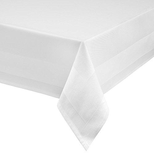 TextilDepot24 Damast Tischdecke weiß mit Atlaskante bei 95°C waschbar 130 x 250 cm 100% Baumwolle