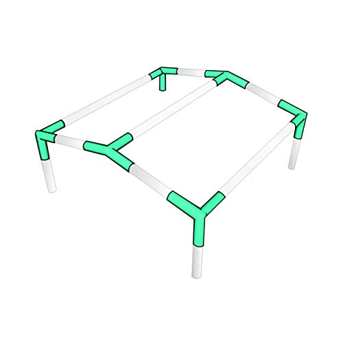 INS Import Canopy Fittings Kit Low Peak Frame Carport Connectors, Full Set for 6, 8, 10 Legs, Choose Size (for 4 Legs)