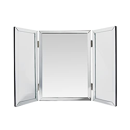 Houseables Trifold Vanity Mirror, Hangable on Wall, Single, 3 Way, 21' x 30', Tri Fold, Big Mirrors for Tables, Bedrooms, Bathroom, Makeup, Tabletop, Three Part, Beveled Edges