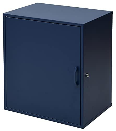 宅配ボックス 戸建て用 1BOXタイプ 完成品 盗難防止ワイヤー付き ダイヤル南京錠付き 印鑑収納 個人宅 鍵付き 60L 30kg ネイビー WKS427