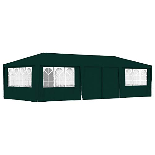vidaXL Professional Party Tent with Side Walls UV and Water Resistant Outdoor Garden Canopy Gazebo Pavilion Marquees Cover Shelter 4x9m Green 90g/m²