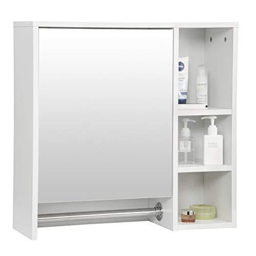 eSituro SBP0056 Spiegelschrank Badspiegel Hängeschrank mit Tür Wandschrank Badschrank mit Ablagen Bad Flur Wohnzimmer Weiß 60x20x60cm