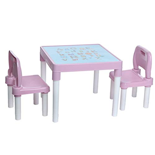 OKA English Alphabet Plastic Kids Desk and 2 Chairs Set,Children Activity Play Table and Chair Kit,Children Multi Activity Table Desk Set Ideal for Drawing Reading Train Art Crafts Playroom (Pink)