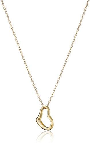 14k Yellow Gold Petite Concave Heart Pendant Necklace, 18'