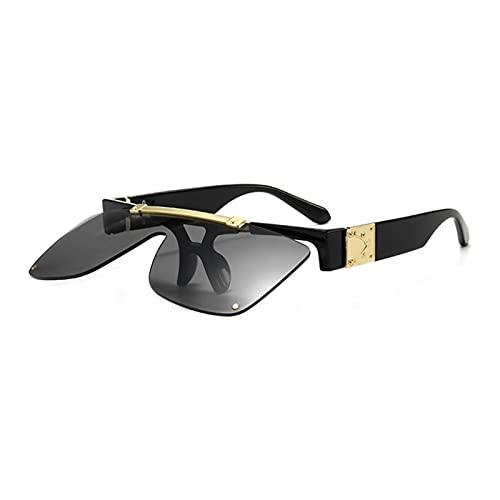 JWYing Gafas de Sol de Lujo para Hombres y Mujeres Half Frame Designer Ladies Gafas de Sol Flip Fashion Brand Tone (Lenses Color : C01)