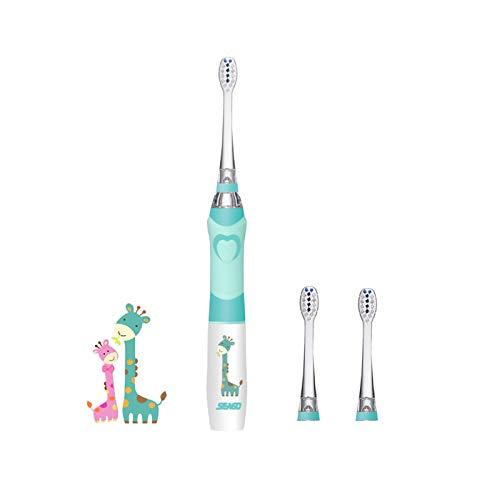 SEAGO Elektrische Zahnbürste Kinder, Batteriebetrieben Baby Zahnbürste Elektrisch mit Weichen Borsten Wasserdicht IPX7 mit Smart Timer & 2 Ersatzköpfen, Grün