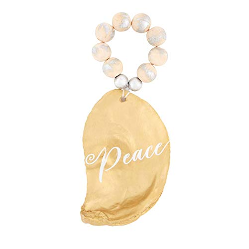 Mud Pie Peace Oyster Shell Ornament